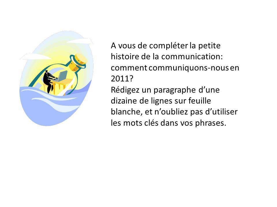 A vous de compléter la petite histoire de la communication: comment communiquons-nous en 2011