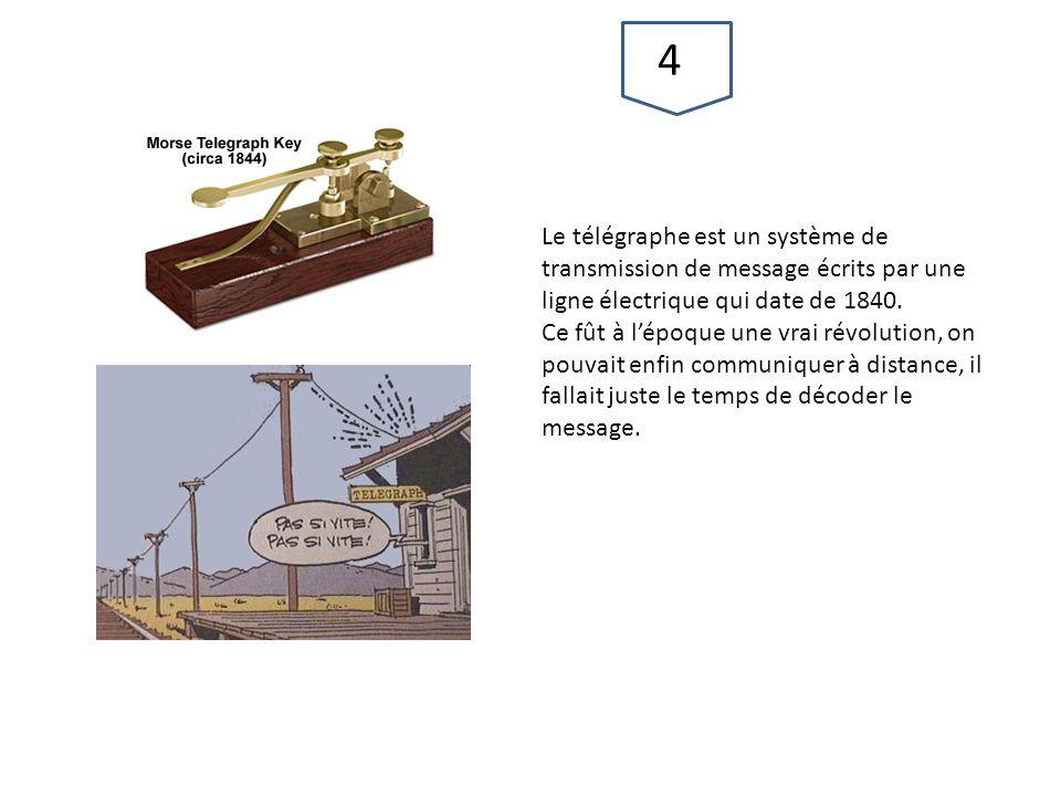 47 Le télégraphe est un système de transmission de message écrits par une ligne électrique qui date de 1840.