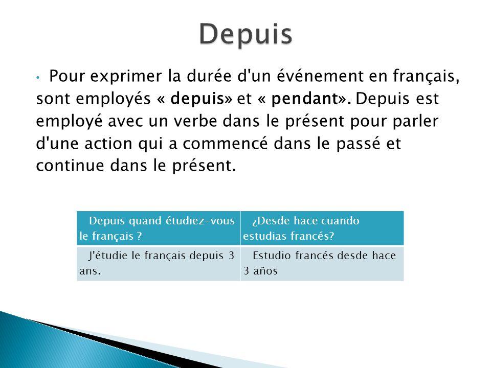 Depuis Pour exprimer la durée d un événement en français,