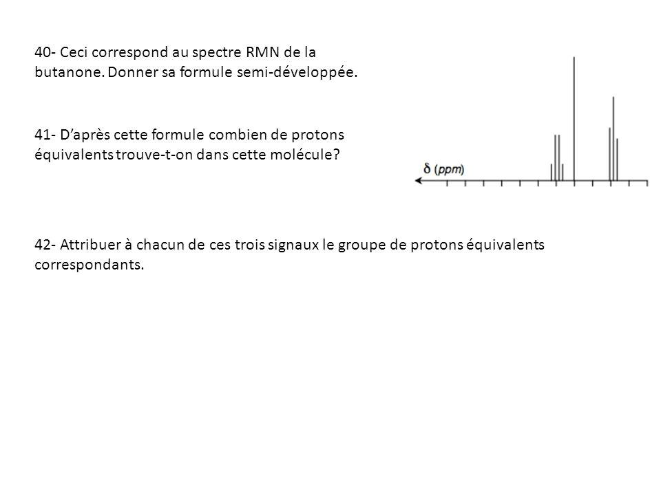 40- Ceci correspond au spectre RMN de la butanone
