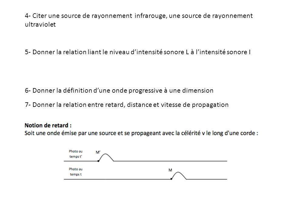 4- Citer une source de rayonnement infrarouge, une source de rayonnement ultraviolet
