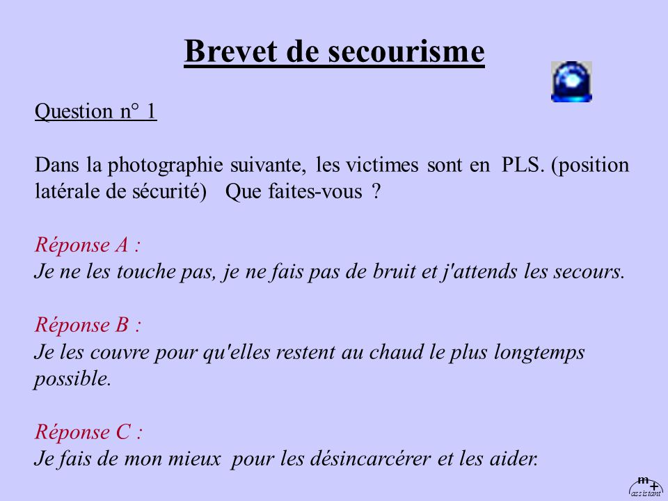 Brevet de secourisme Question n° 1