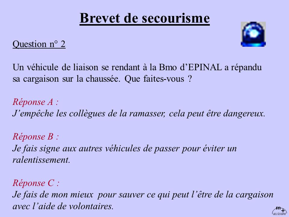 Brevet de secourisme Question n° 2