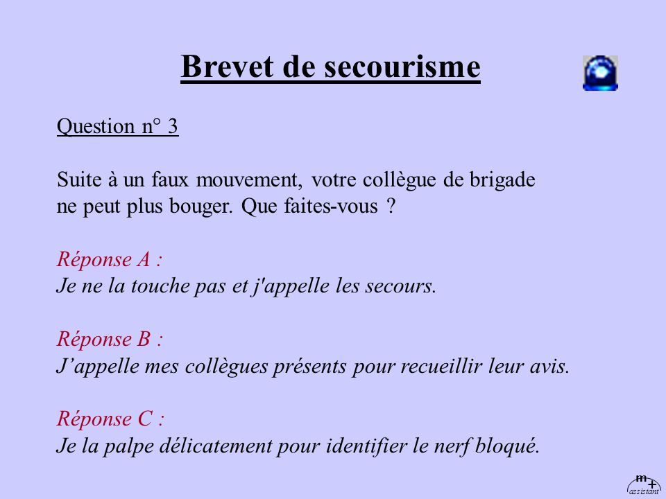 Brevet de secourisme Question n° 3