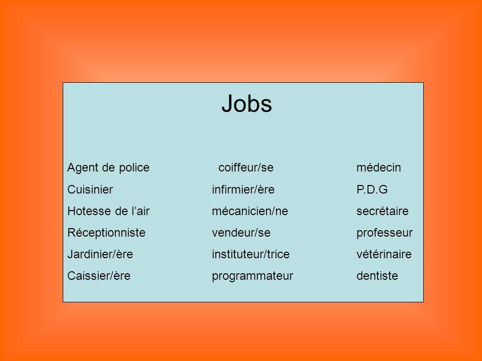 Jobs Agent de police coiffeur/se médecin Cuisinier infirmier/ère P.D.G