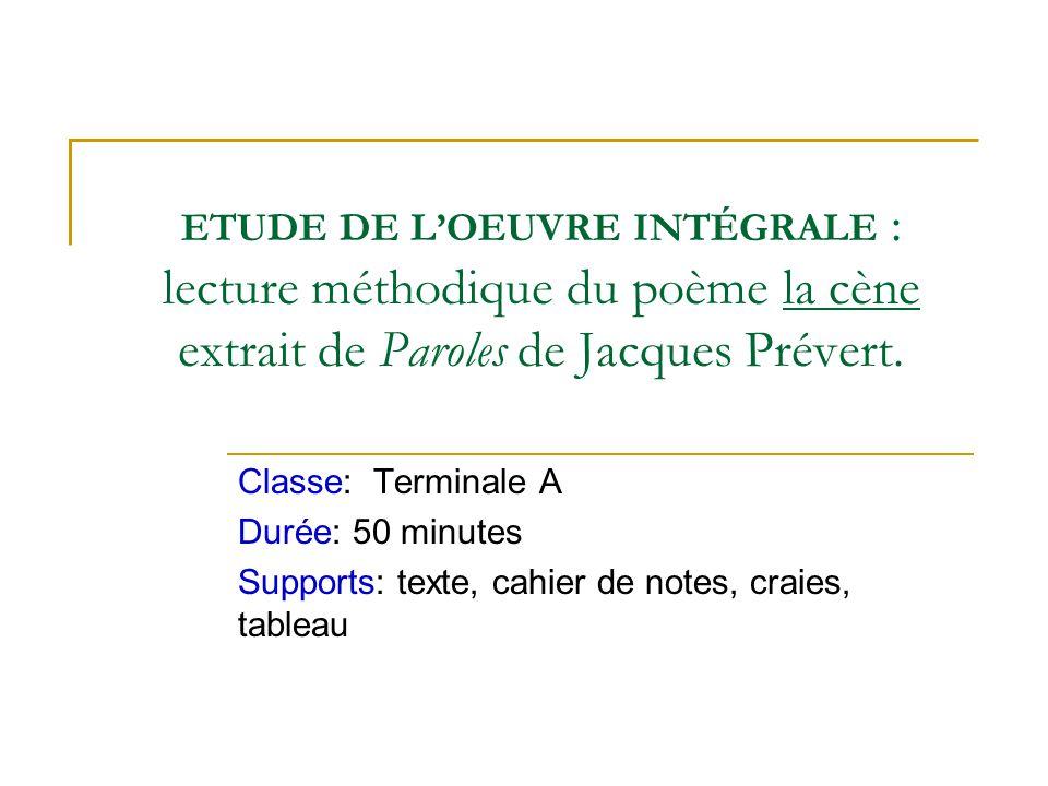 ETUDE DE L'OEUVRE INTÉGRALE : lecture méthodique du poème la cène extrait de Paroles de Jacques Prévert.
