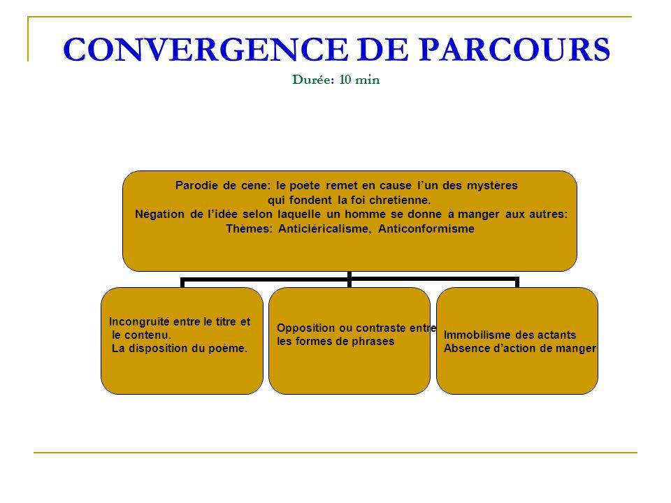 CONVERGENCE DE PARCOURS Durée: 10 min