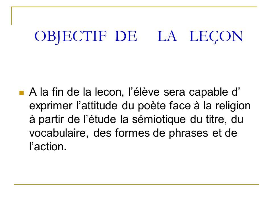 OBJECTIF DE LA LEÇON