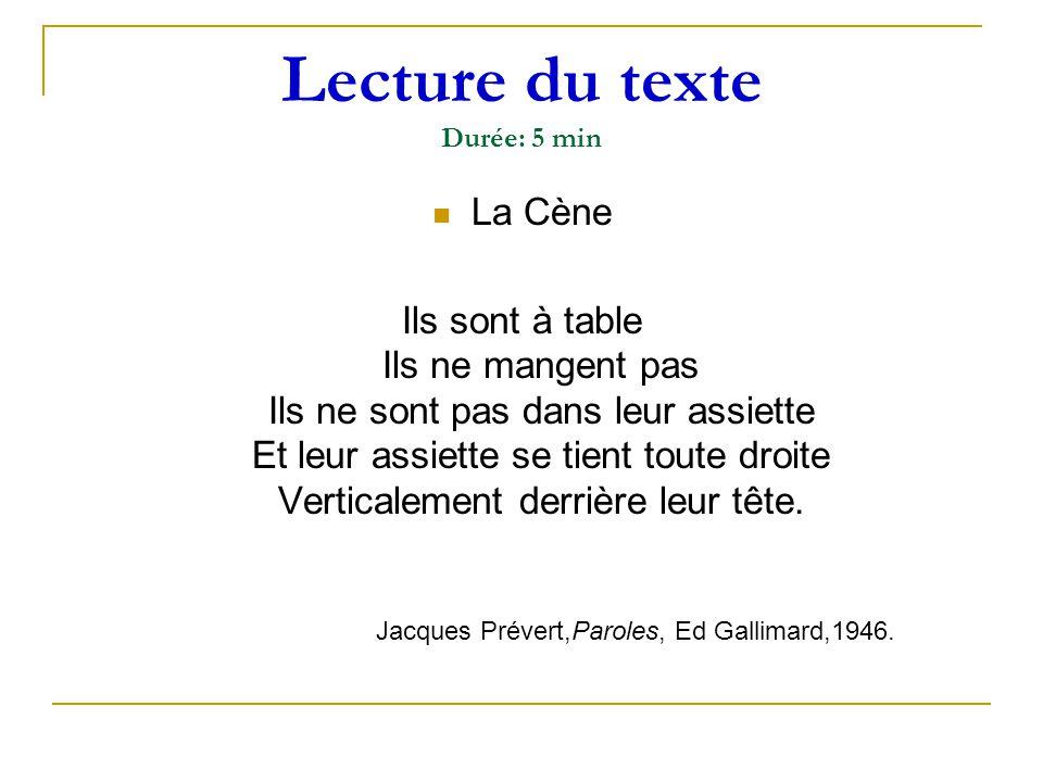 Lecture du texte Durée: 5 min