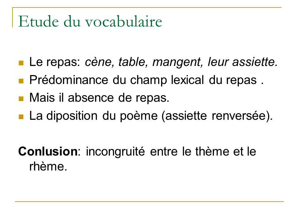 Etude du vocabulaire Le repas: cène, table, mangent, leur assiette.