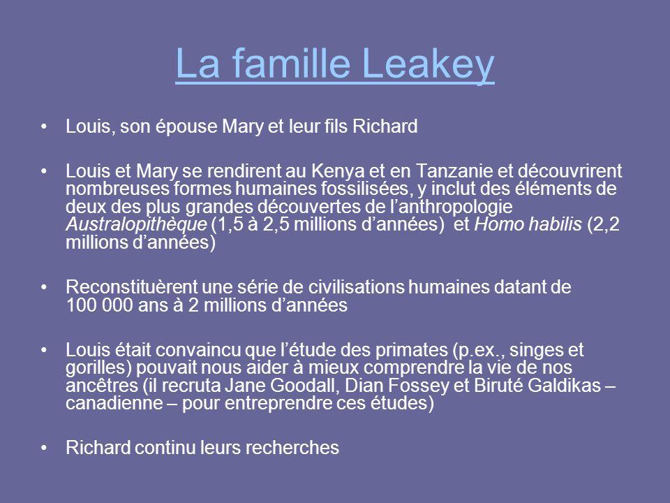 La famille Leakey Louis, son épouse Mary et leur fils Richard
