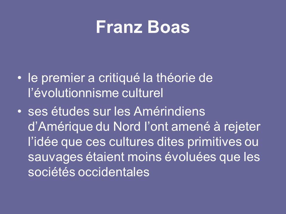 Franz Boas le premier a critiqué la théorie de l'évolutionnisme culturel.