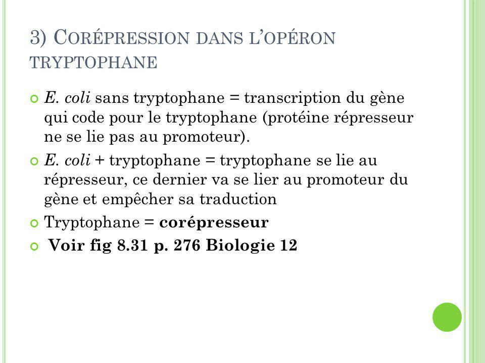 3) Corépression dans l'opéron tryptophane