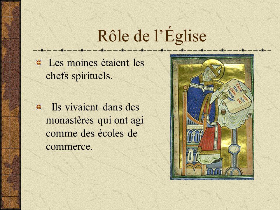 Rôle de l'Église Les moines étaient les chefs spirituels.