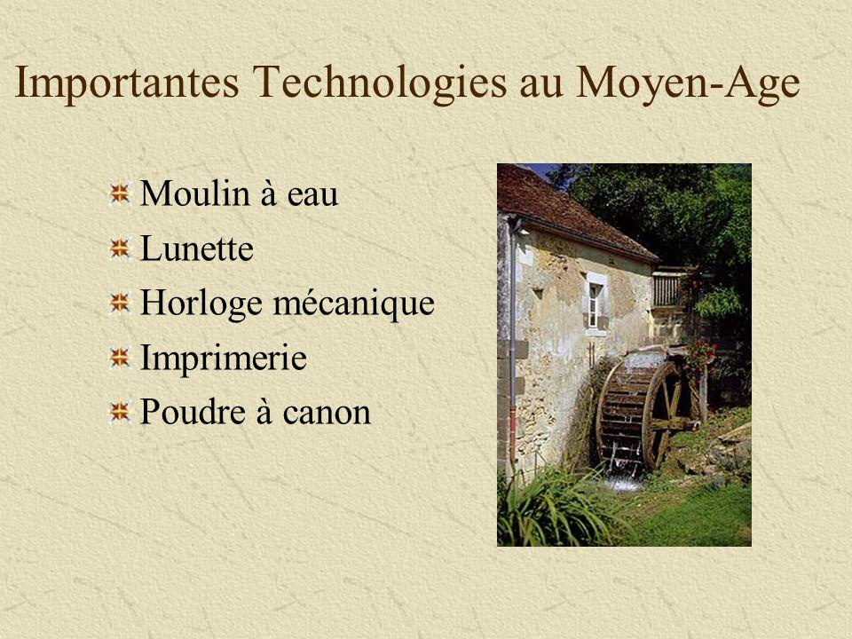 Important Moyen Age Technologies Importantes Technologies au Moyen-Age