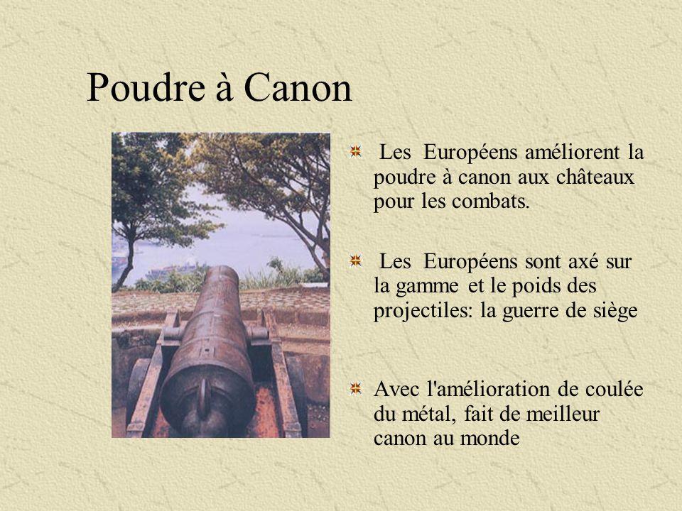 Poudre à Canon Les Européens améliorent la poudre à canon aux châteaux pour les combats.