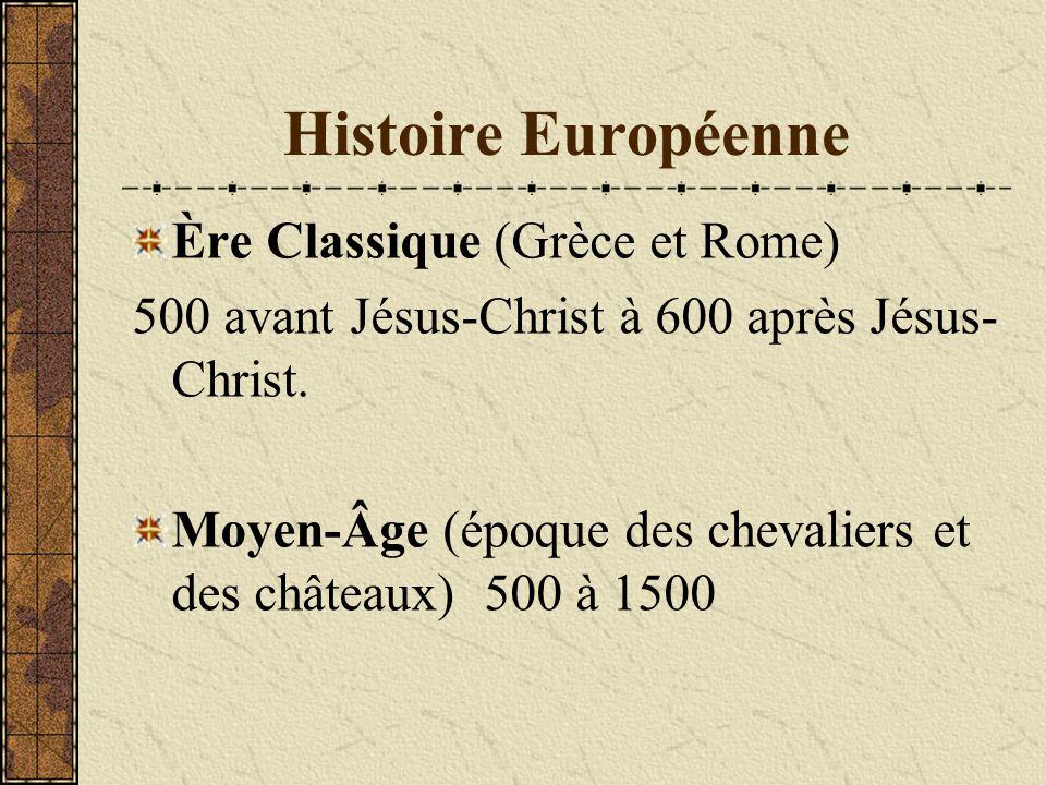 Histoire Européenne Ère Classique (Grèce et Rome)