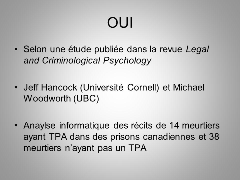 OUI Selon une étude publiée dans la revue Legal and Criminological Psychology. Jeff Hancock (Université Cornell) et Michael Woodworth (UBC)