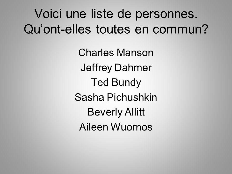Voici une liste de personnes. Qu'ont-elles toutes en commun
