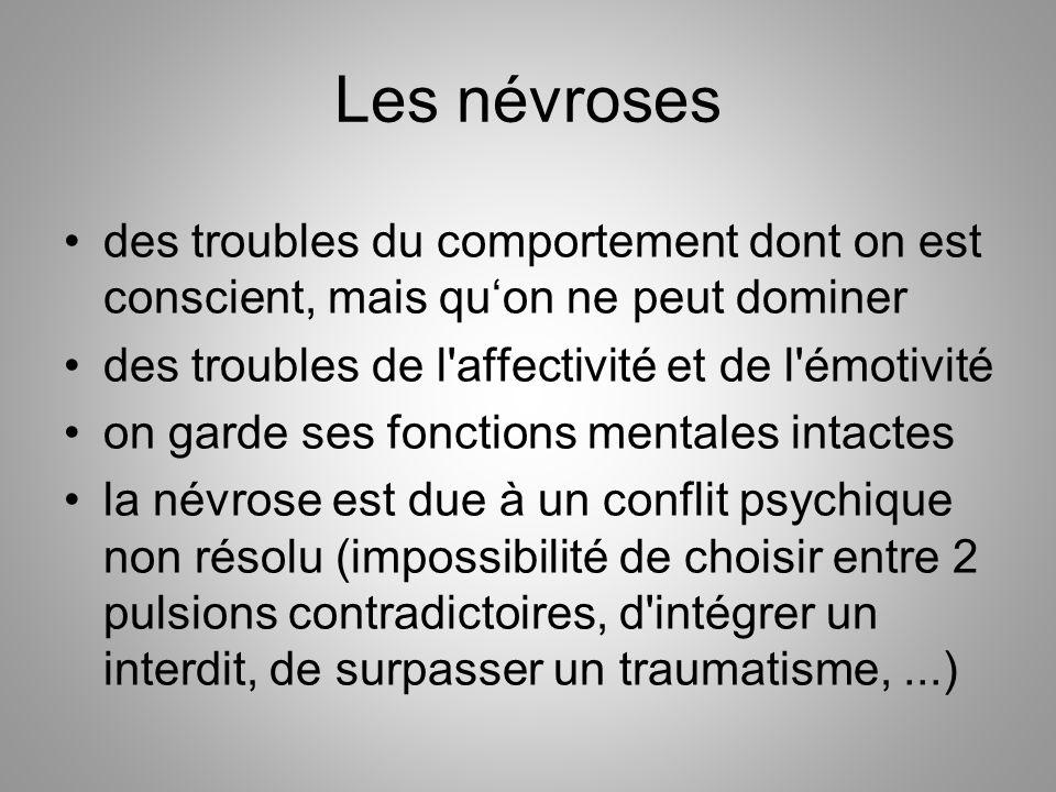 Les névroses des troubles du comportement dont on est conscient, mais qu'on ne peut dominer. des troubles de l affectivité et de l émotivité.
