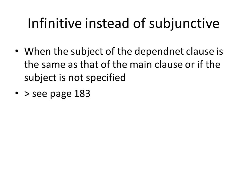 Infinitive instead of subjunctive