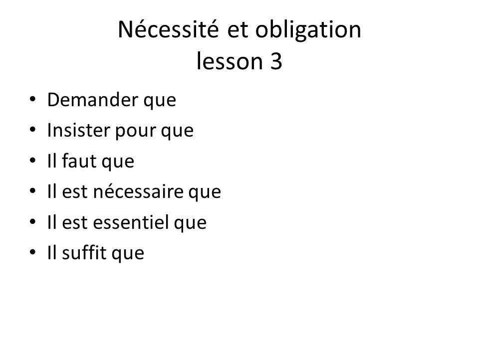 Nécessité et obligation lesson 3