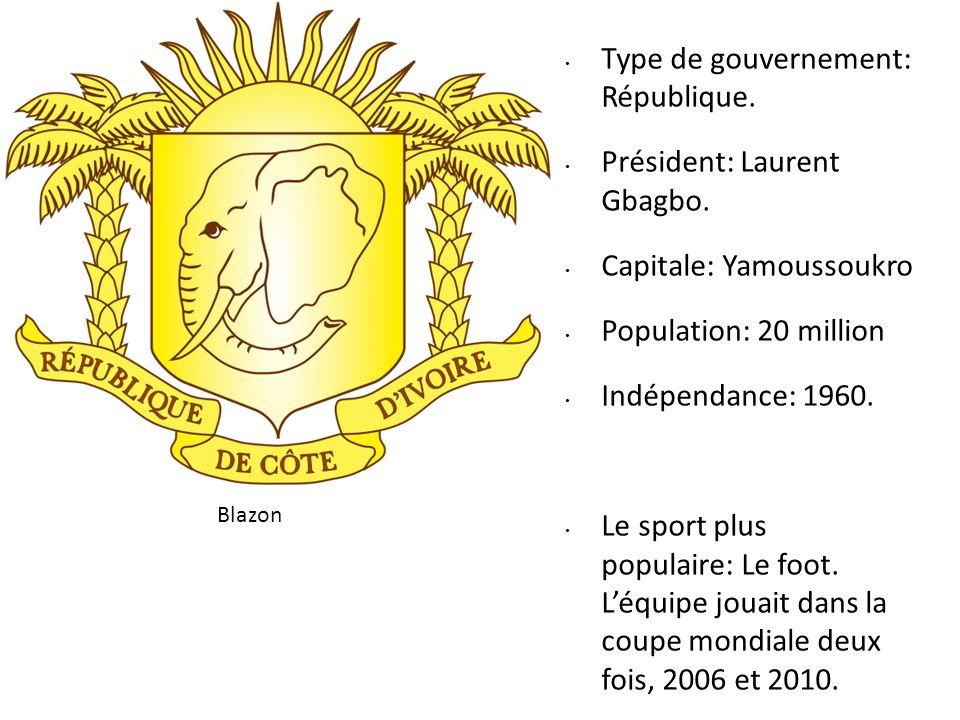Type de gouvernement: République. Président: Laurent Gbagbo.