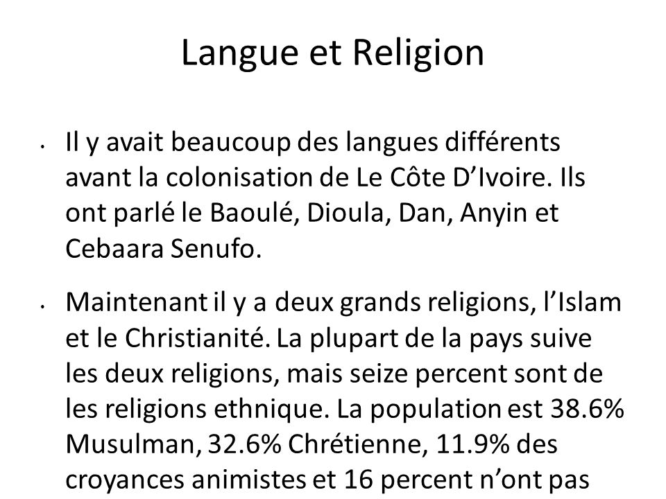 Langue et Religion
