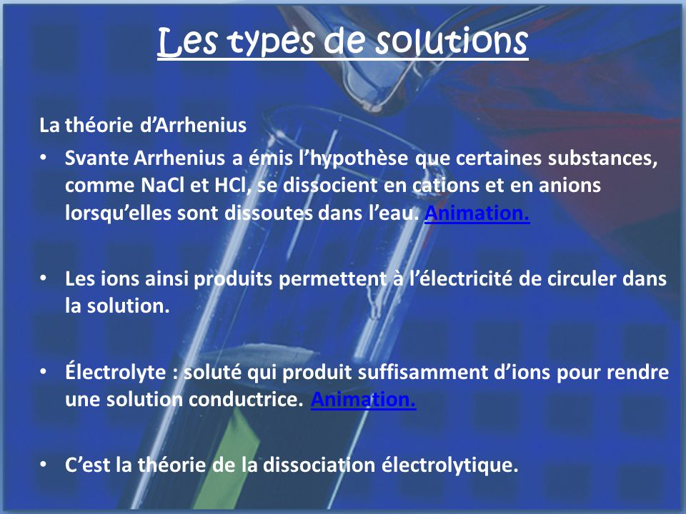 Les types de solutions La théorie d'Arrhenius