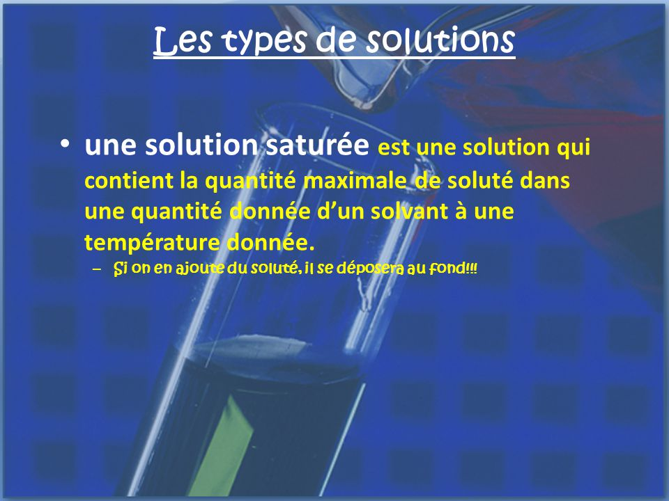 Les types de solutions