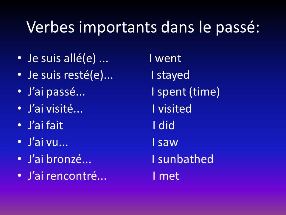 Verbes importants dans le passé: