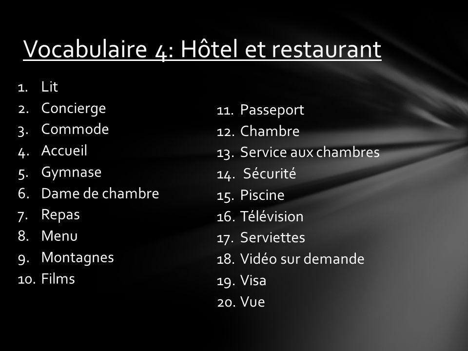 Vocabulaire 4: Hôtel et restaurant