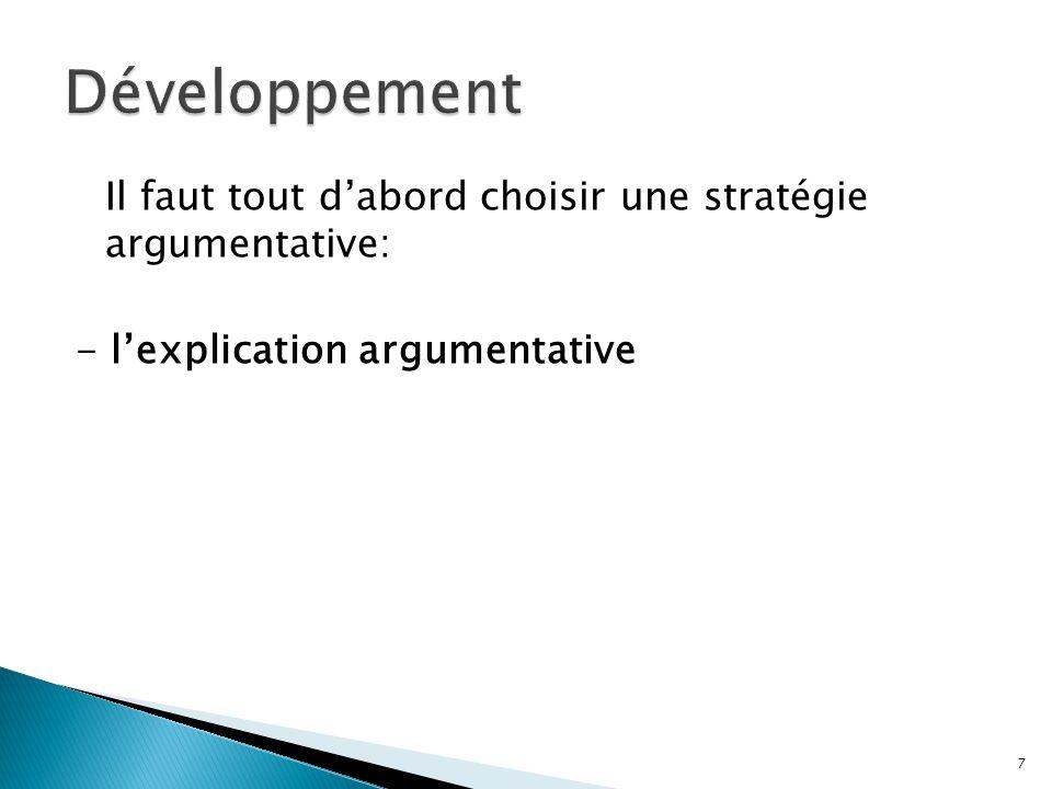 Développement Il faut tout d'abord choisir une stratégie argumentative: - l'explication argumentative