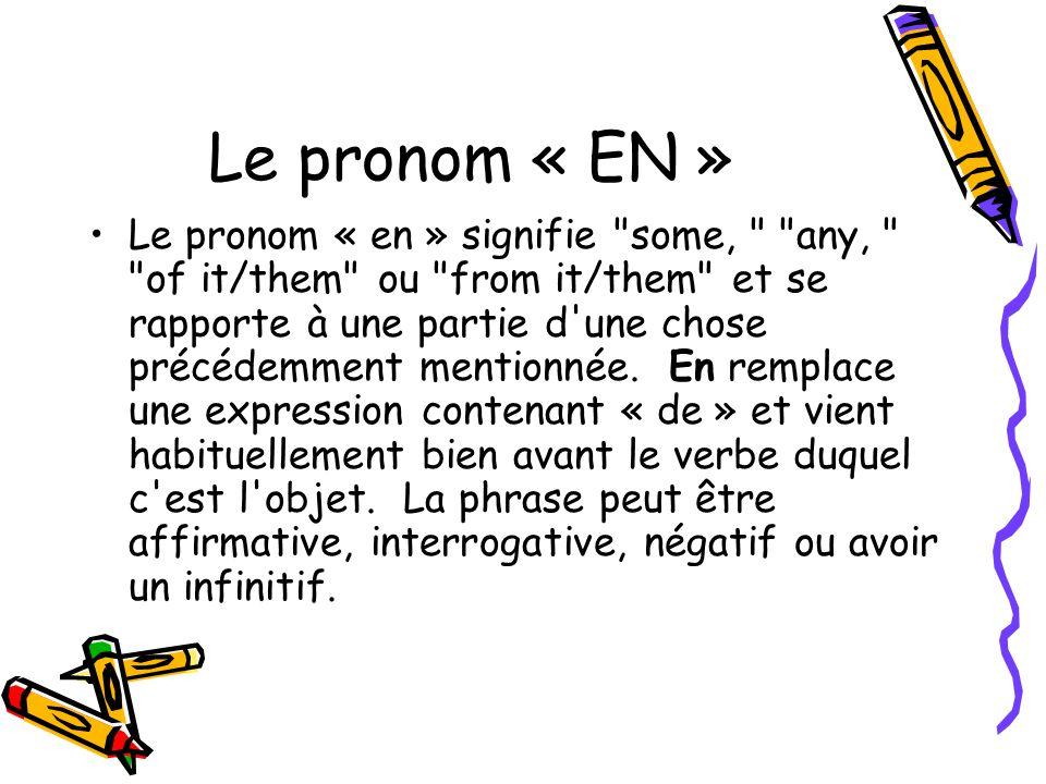 Le pronom « EN »