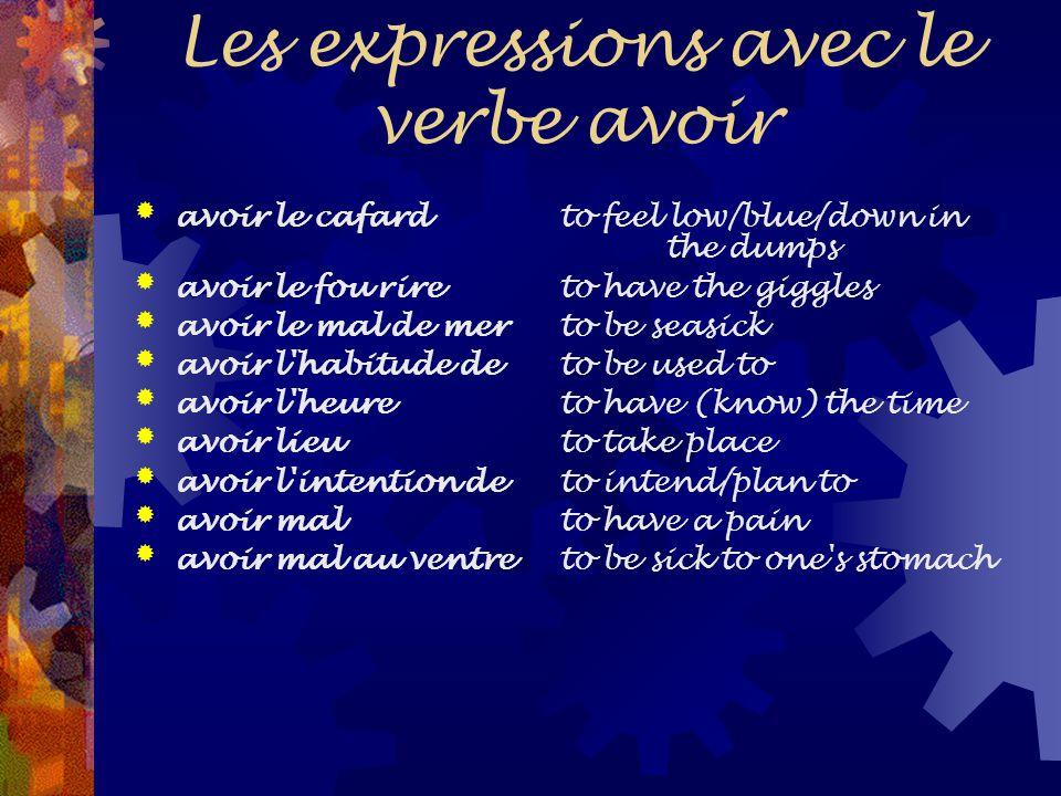 Les expressions avec le verbe avoir