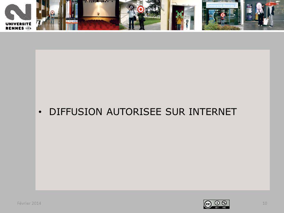 DIFFUSION AUTORISEE SUR INTERNET