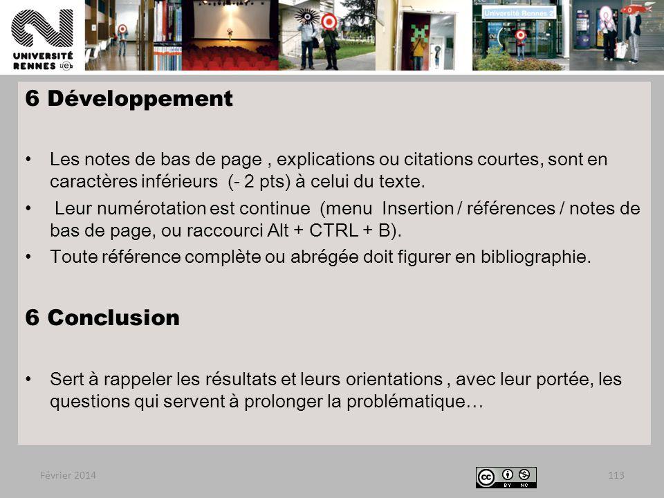 6 Développement 6 Conclusion