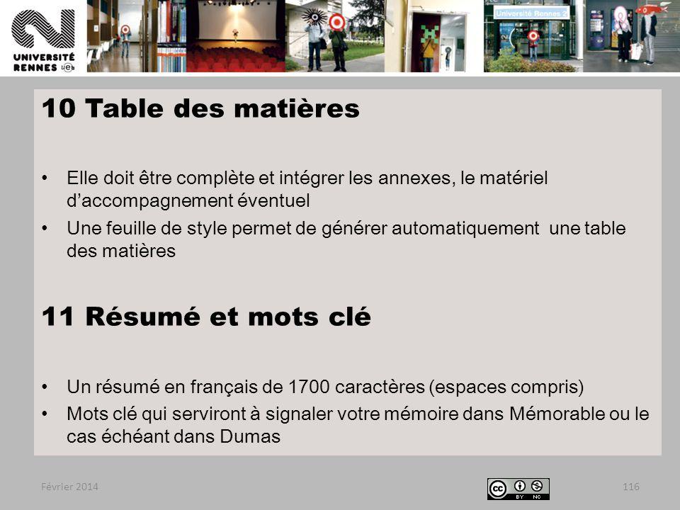10 Table des matières 11 Résumé et mots clé