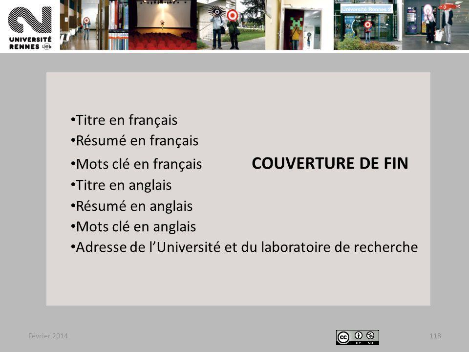 Mots clé en français COUVERTURE DE FIN Titre en anglais