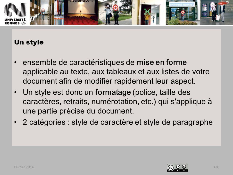 2 catégories : style de caractère et style de paragraphe