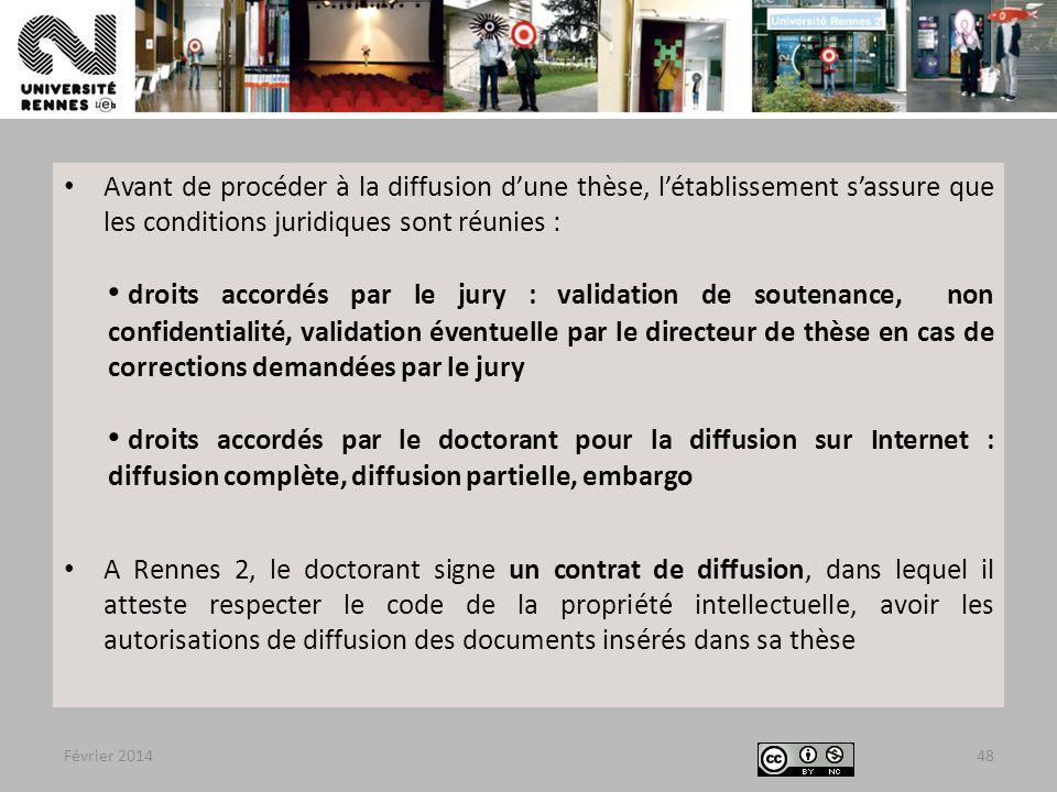 Avant de procéder à la diffusion d'une thèse, l'établissement s'assure que les conditions juridiques sont réunies :