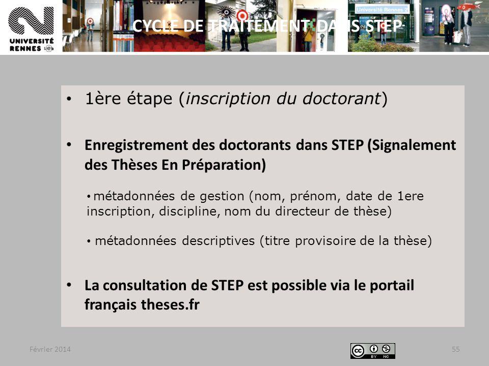 CYCLE DE TRAITEMENT DANS STEP