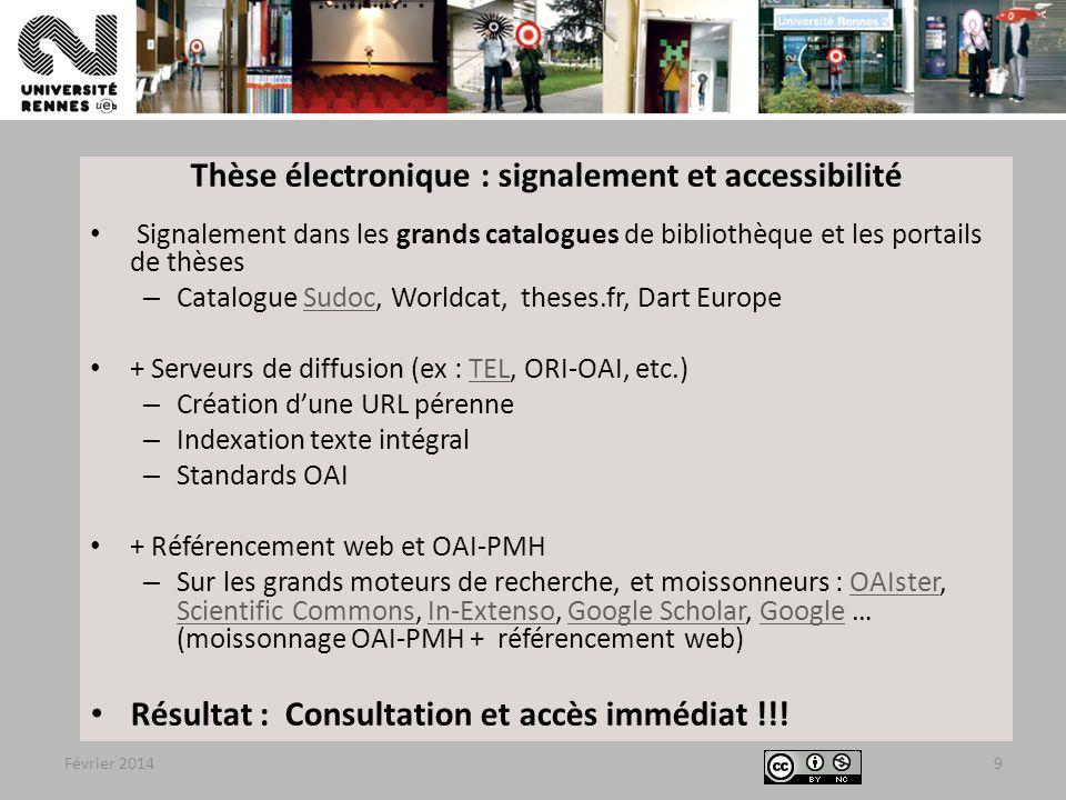 Thèse électronique : signalement et accessibilité