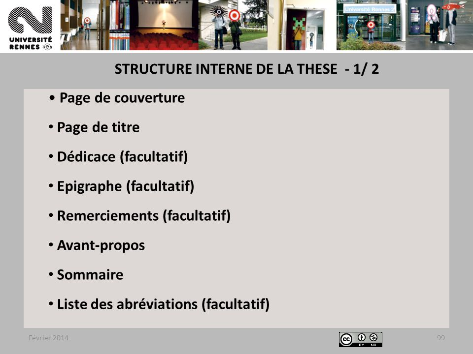 STRUCTURE INTERNE DE LA THESE - 1/ 2