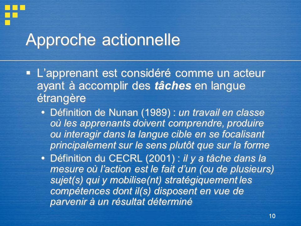 Approche actionnelle L'apprenant est considéré comme un acteur ayant à accomplir des tâches en langue étrangère.