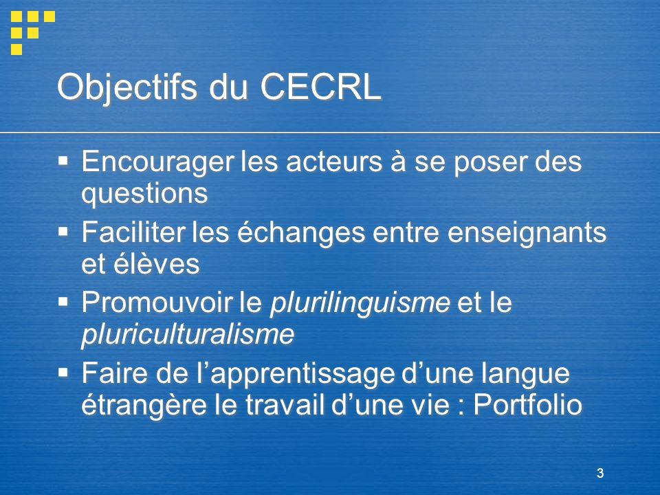 Objectifs du CECRL Encourager les acteurs à se poser des questions