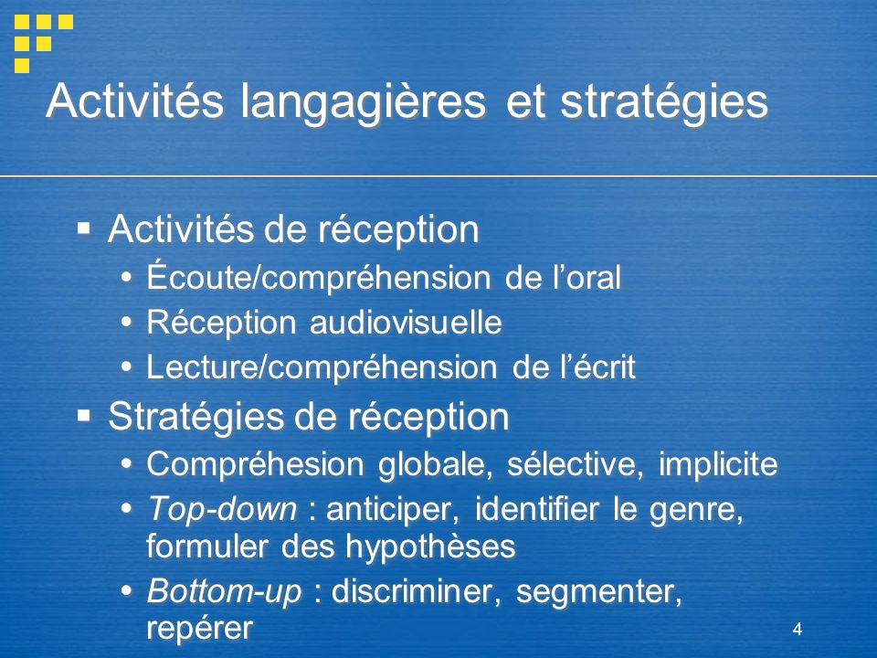 Activités langagières et stratégies
