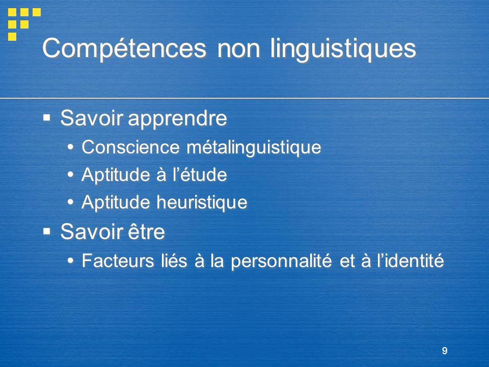 Compétences non linguistiques