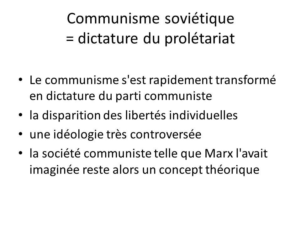 Communisme soviétique = dictature du prolétariat