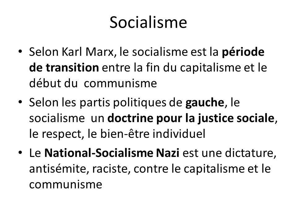 Socialisme Selon Karl Marx, le socialisme est la période de transition entre la fin du capitalisme et le début du communisme.